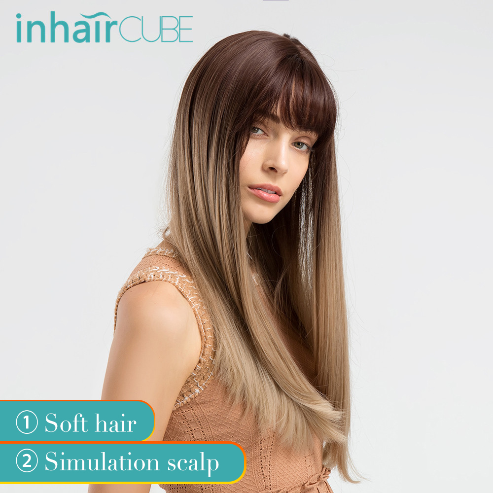 "INHAIR CUBE 22"" Women Synthetic Wigs With Bangs Brown Ombre  Long Straight Hair Realistic Simulation Scalp Wig Natural Headline"