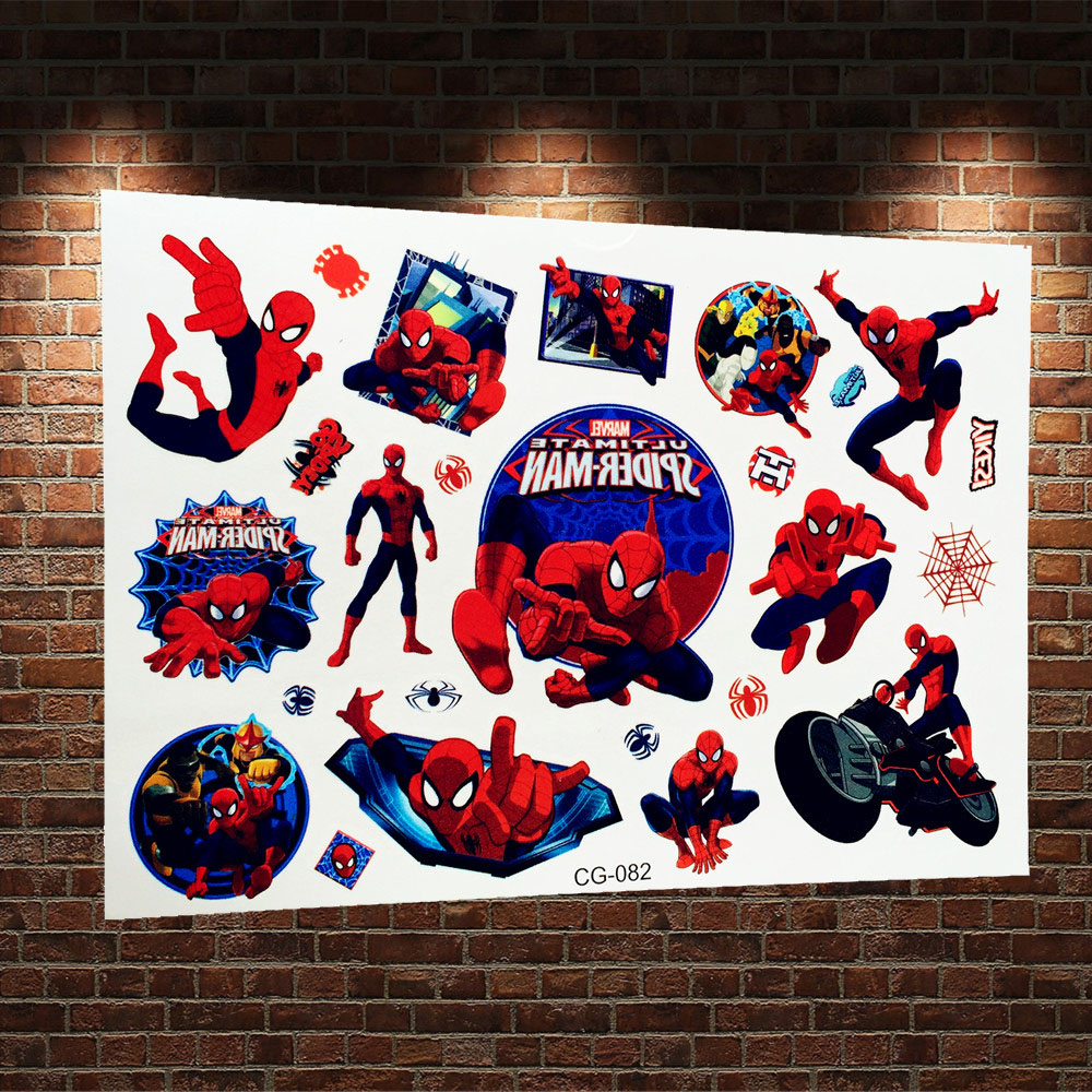 3d spiderman temporary tattoo sticker kids waterproof for Superhero temporary tattoos