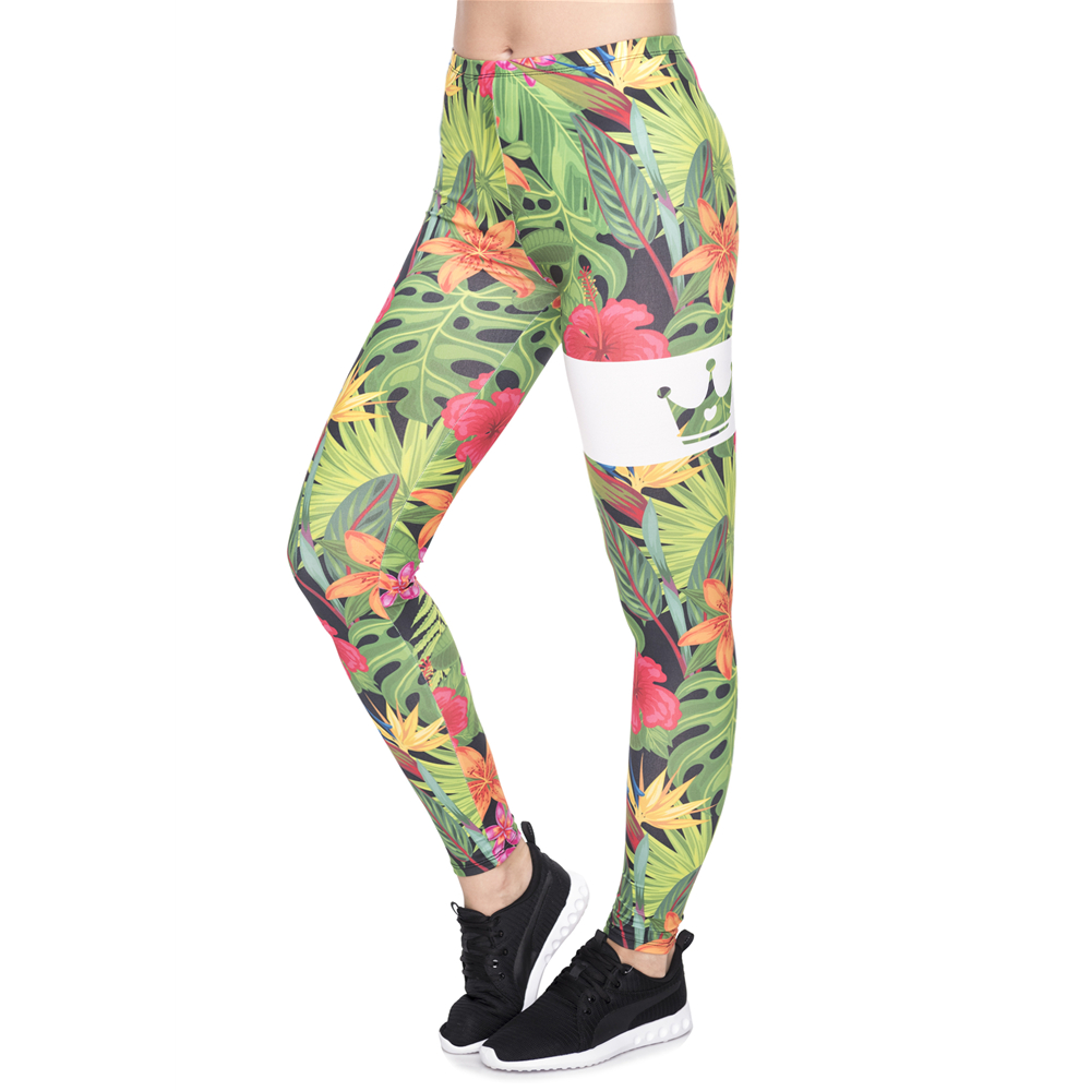 New Leggins Mujer Queen Of The Gym  Tropical Flowers Printing Legging Sexy Feminina Leggins Fitness Woman Pants Workout Leggings