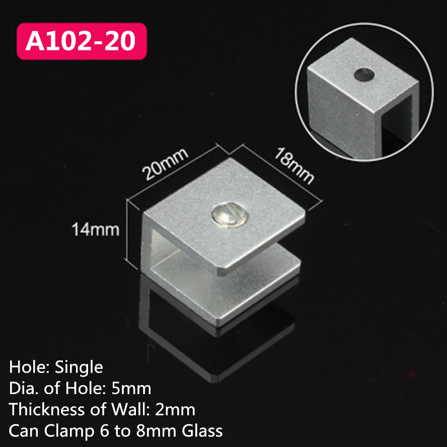 10pcs A102-20 For 6 To 8mm Glass Board Rectangular Shape Aluminum Material Glass Clamps Shelves Support Bracket Clips