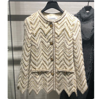 Luxury Brand Designer 2 Piece Set Wool Blend Wave Striped Knitted Sweater Cardigan and Knitted Skirt Set