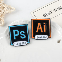 Photoshop Adobeillustrator Enamel Pin Lencana Biru Orange Square Bros Lansekap Gambar Kerah Pin Hadiah Perhiasan Desainer(China)