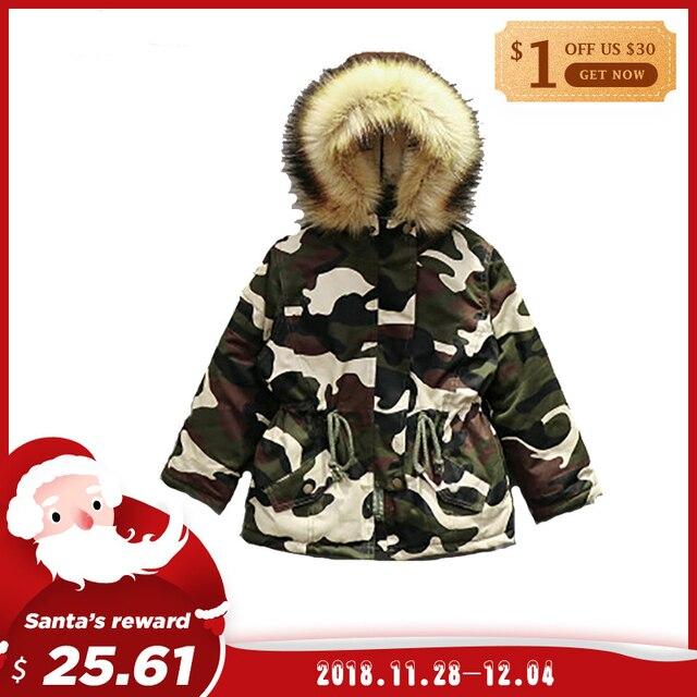 2018 Autumn Winter Girls Jackets Kids Faux Fur Collar Coat Children Winter Outwear 2-6Y Boys Girls Camouflage Warm Clothing