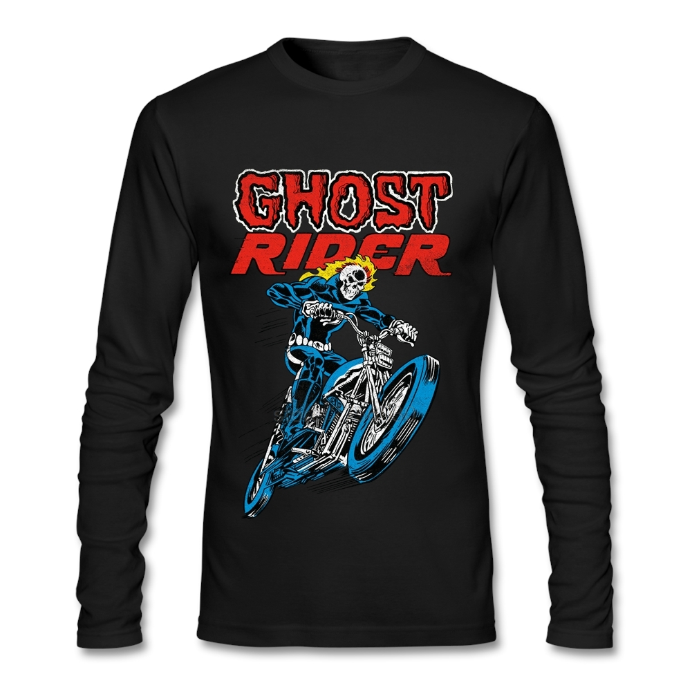 Custom Made T Shirt Designs Long Sleeve Men's Tees Custom Made Ghost Rider For Men 100% Cotton Tees