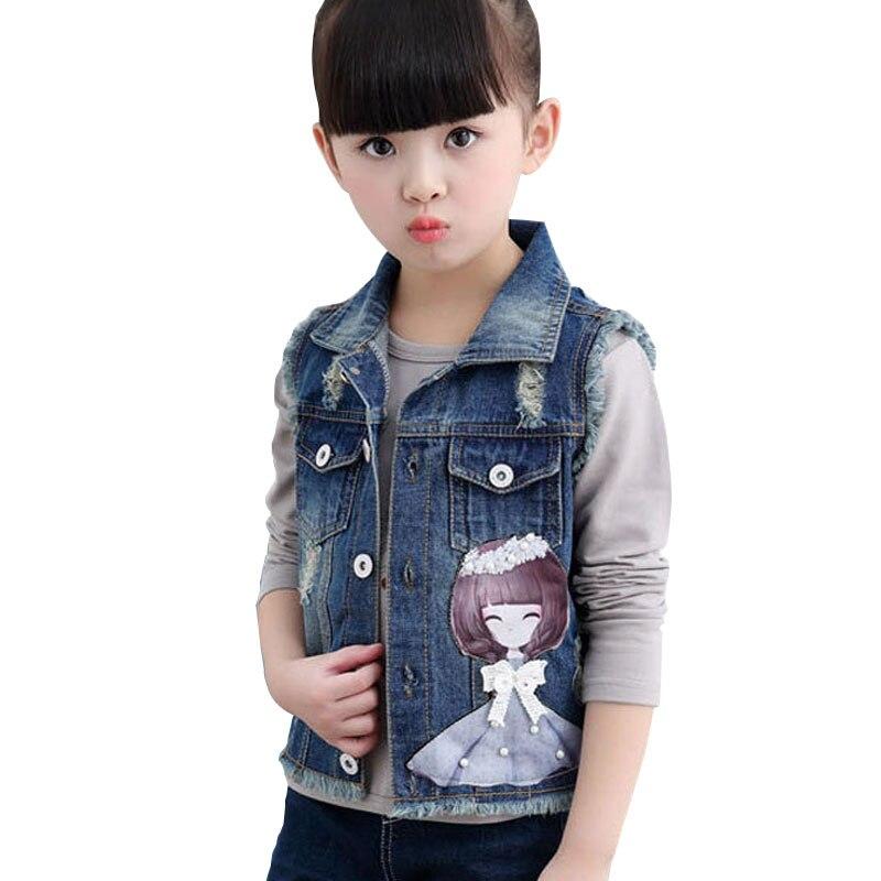 Без рукавов для девочек джинсовые куртки для детей мультфильм девушка украшения На возраст от 2-10 л. Детская жилетка джинсовые пальто с декоративными вставками для девочек джинсовый жилет - Цвет: Blue Girls Vest