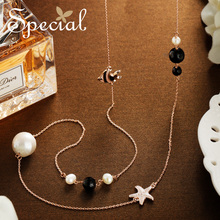 Special Fashion Ceramic Beaded Long Necklace Maxi European Style Necklaces & Pendants Jewelry Gifts for Women S1852N