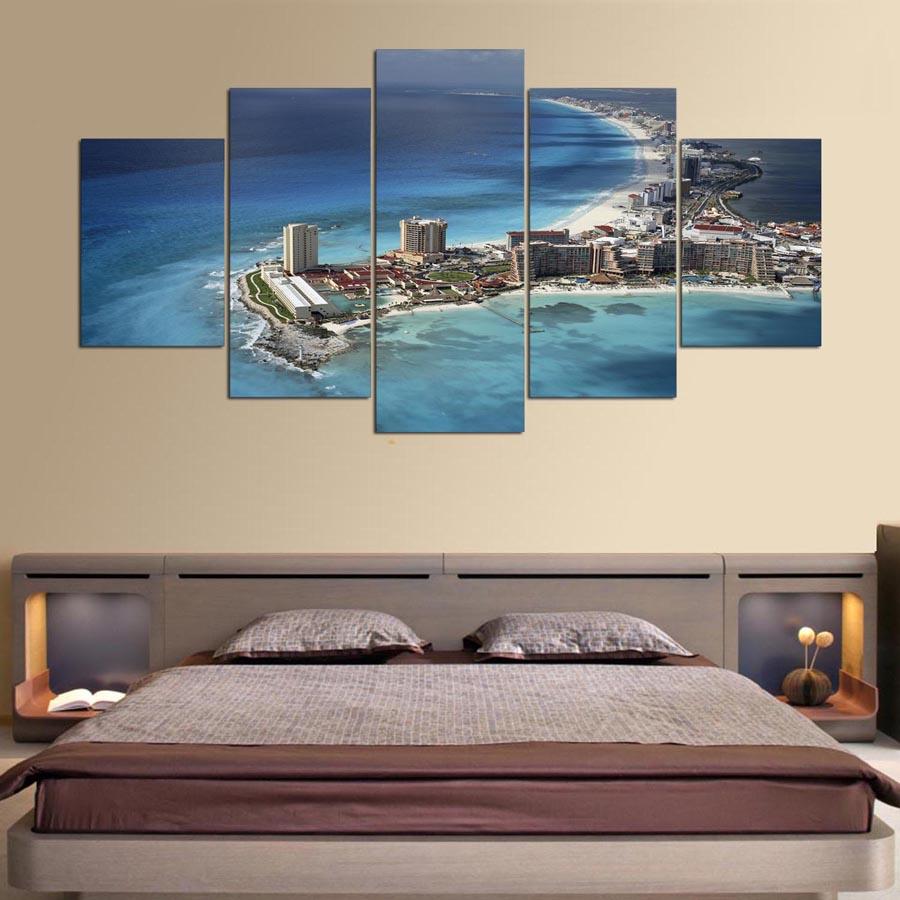 Kumsal duvar boyas rengi ile modern ve k ev dekorasyonu - Modern Ev Duvar Sanat Dekor Er Eve Resimleri Sanat 5 Par A Meksika Oturma Odas I In City Beach