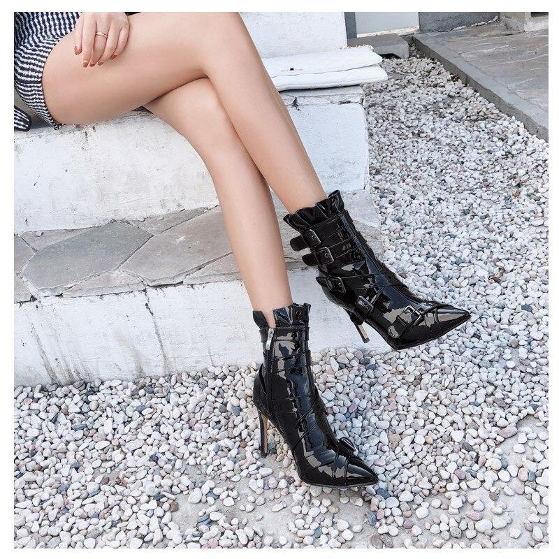 Chaude Cheville Pointu Mince Mujer Show 7cm Cuir Short Plush De Zapatos Feminina Dames Femme Talons 9cm Femmes short Bout Bottes Chaussures Courtes 9cm En Verni 7cm as Boucle as Bota YrqvY
