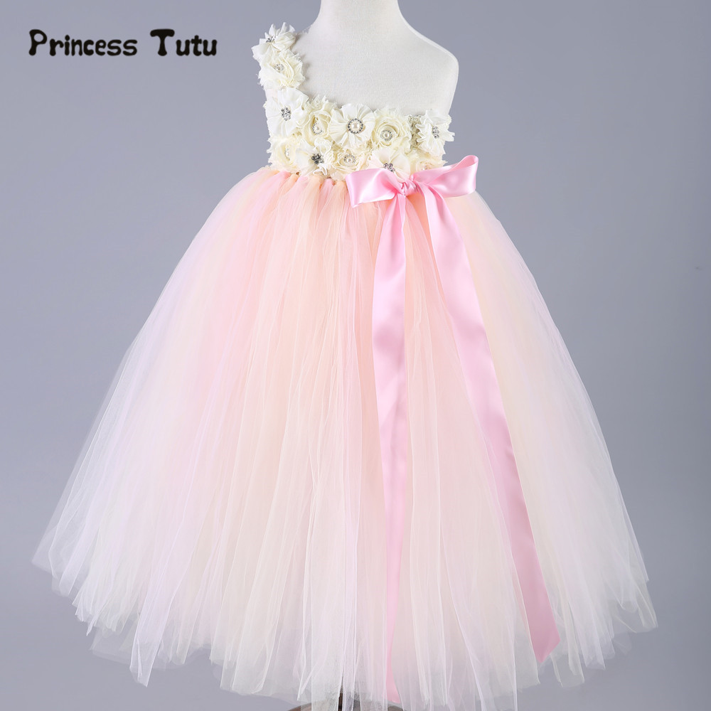 Princess Tutu Dress Kids Flower Girl Dresses Pink Green Baby Girls Tulle Dress Children Pageant Party Wedding Birthday Ball Gown baby girl easter tutu dress mint green with pink rose girl flower dreas birthday wedding party tutu dress for baby girl
