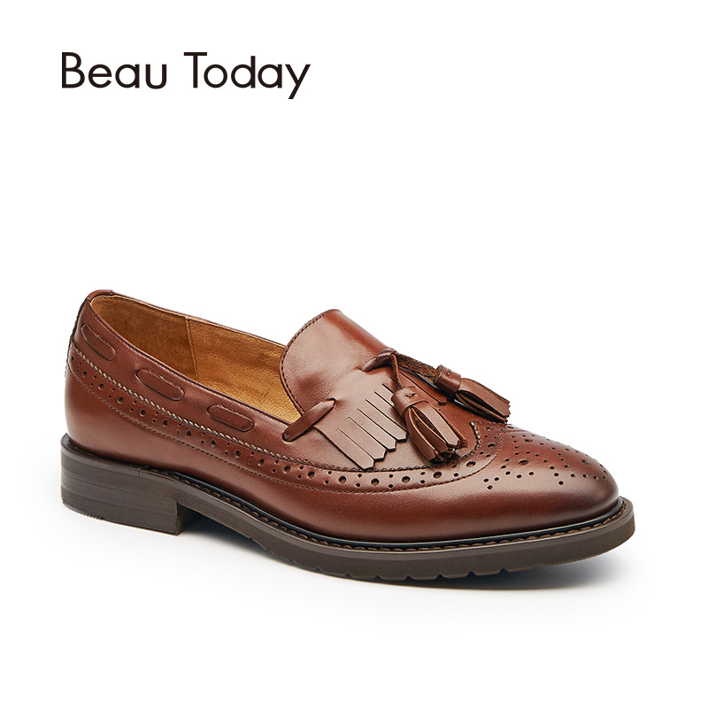 BeauToday Loafers Women Brogue Style Genuine Cow Leather Brand Fringe Round Toe Slip-On Lady Flats Good Quality Handmade 21046 beautoday loafers women top quality brand flats genuine leather metal decorated square toe calfskin shoes mix colors 15701