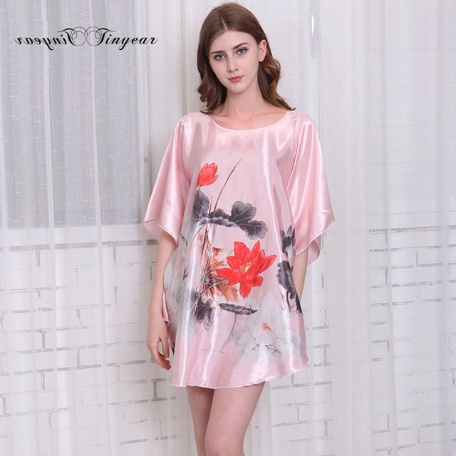 Tinyear Embroidery Nightgowns Sleepshirts Plus Size Silk Lady ...