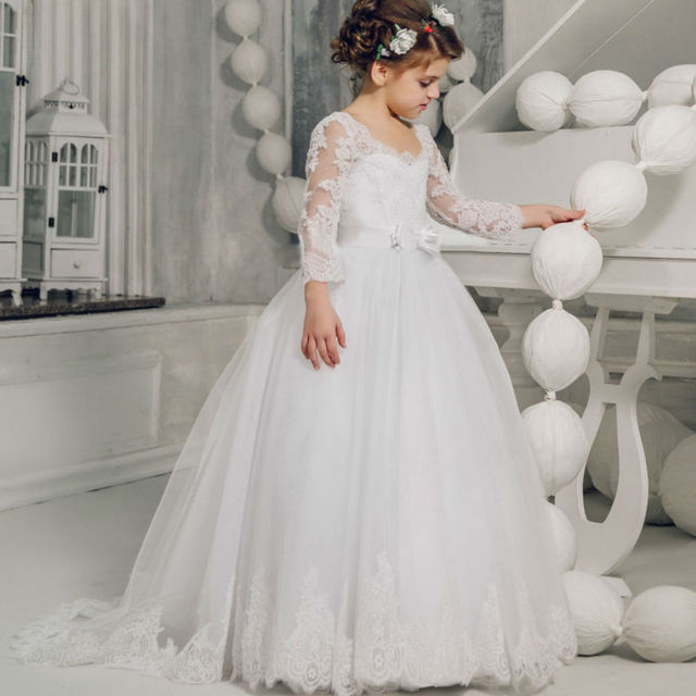 Long Sleeve Flower S Dresses For Wedding White Ball Gown Lace 12 Year