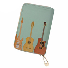 NOISYDESIGNS PU Leather ID Card Holder Guitar Credit Card Holder for Women Fashion Driving License Cover Ladies Case for Card