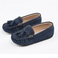 New Spring/Autumn Casual Loafers Children Boys Girls Genuine Leather British style Tassel Single Shoes Kids Flats 02B