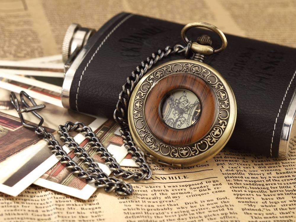 Box Package Solid Wood Mechanical Pocket Watch FOB Chain Locket Dial Hollow Steampunk Skeleton Men Women Mens Male Clock Watches 12