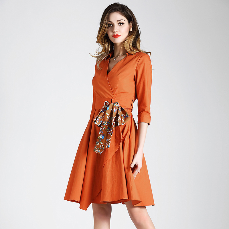2018 spring new arrival womens fashion deep v-neck orange cotton dress lotus leaf hem slim lace woman dress 1805 ...