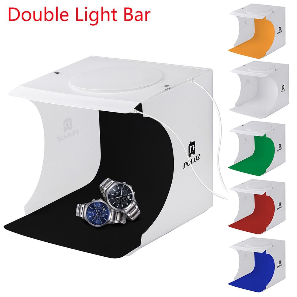 A set Mini LED Light Photo Studio Double LED Light Room Photo Studio Photography Lighting Tent Backdrop Cube Box DEC22