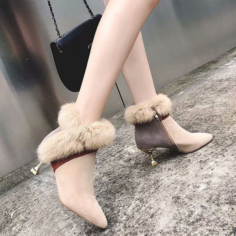 faux fur decoration ankle boots women gold high heeled plush winter booties mixed color suede leather peluche botas mujer s456 31