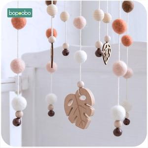 Image 4 - Bopoobo 1 set 실리콘 비즈 아기 모바일 너도밤 나무 우드 버드 딸랑이 양모 공 어린이 방 침대 장식 간호 어린이 제품