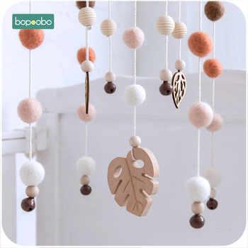 Bopoobo 1set Silicone Beads Baby Mobile Beech Wood Bird Rattles Wool Balls Kid Room Bed Hanging Decor Nursing Children Products