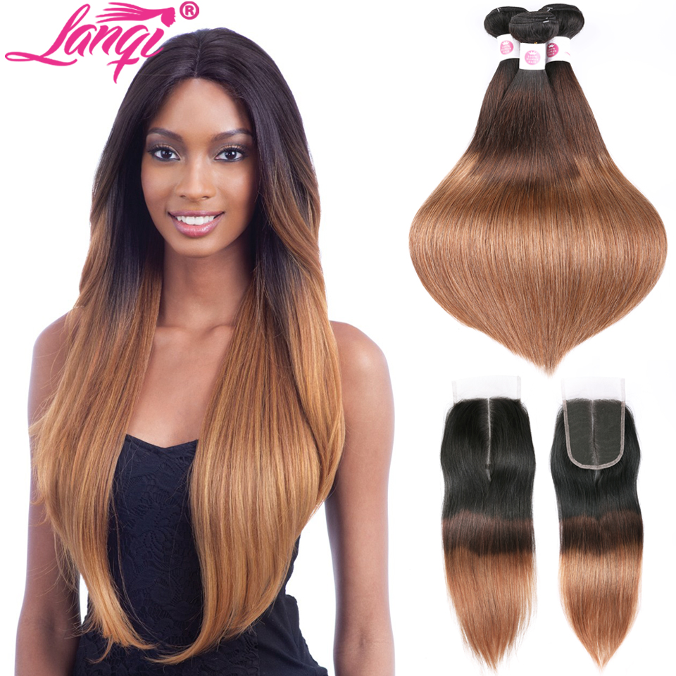 Brazilian Straight Blonde Hair Bundles With Lace Closure Lanqi 1b/4/30 3 Tone Human Hair Weave Ombre Hair Bundles With Closure