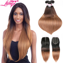 Tissage en lot brésilien naturel avec lace closure-lanqi | Cheveux lisses, ombré 1b/4/30, 3 tons, blond(China)
