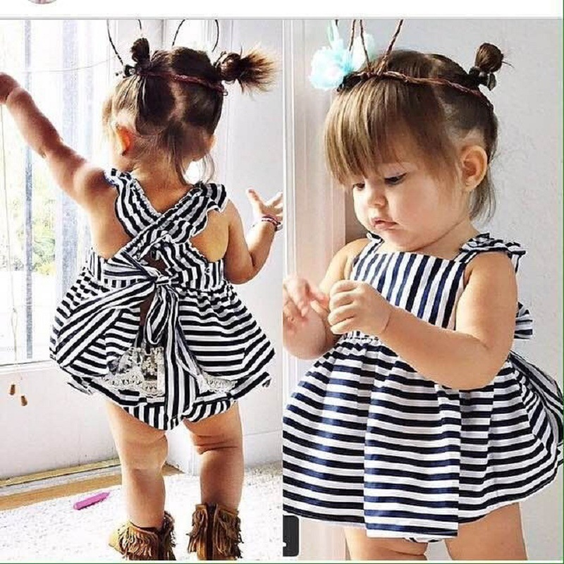 2018 New Summer Infant Baby Girls Dresses Cotton Black White Stripe Dress+Shorts Girls Clothing Outfits Kids Children Clothes