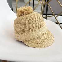 2018 New Women Visors Handmade Crochet Raffia Hats Female Summer Beach Sun Hats Sunproof Equestrian Caps Sweet Cute Short Brim