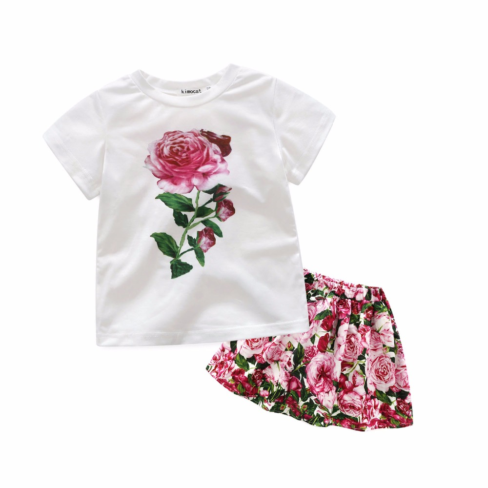 Fashion Brand Summer Rose Girls Clothes 2PCS Floral Children Clothing Sets Short Sleeve T-shirt+Flower Skirt Kids Clothes family fashion summer tops 2015 clothers short sleeve t shirt stripe navy style shirt clothes for mother dad and children