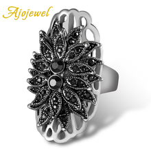 Ajojewel New Designer Exaggerated Big Ring Women Unique Black Crystal Rhinestone Flower Vintage Jewelry Rings rhinestone vintage flower ring