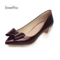 Women Patent Leather Low Heel Casual Pumps Sweet Bow Knot Dress Fashion Pointed Toe Slip On