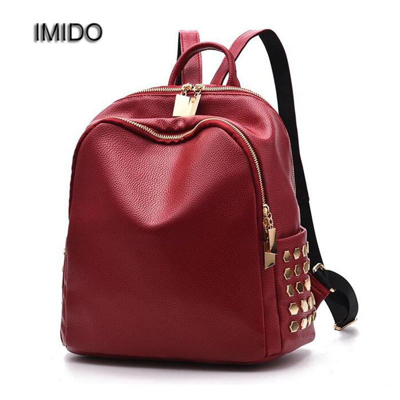 IMIDO Female Backpack Leather Backpacks for Women Backbag Rivet School bags girls Blue Black Red mochila feminina baobao SLD033 keenici small women leather backpack for girls feminine knapsack school bags for teenagers rucksack mini backpacks rivet black