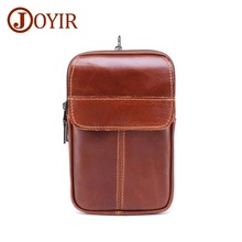 JOYIR Genuine Leather Men Waist pack Mens New Design Fashion Pack Casual Small Red-brown Male Belt Bag
