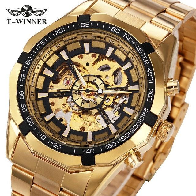 Новинка 2017 года Золотой Часы Топ Элитный бренд Для мужчин спортивные Автоматическая Скелет Человек победитель лучшие продажи классический Деловые часы