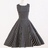 משובץ שחור לבן בציר מנוסח מעצב בריטניה שמלות בהשראת רטרו boho xxl גדלי פלוס בגדי קניות באינטרנט לנשים