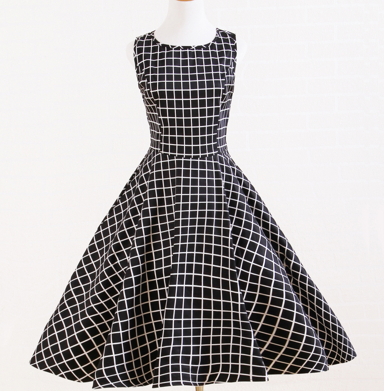 Vintage styled plaid black white uk designer dresses retro Replica designer clothes uk