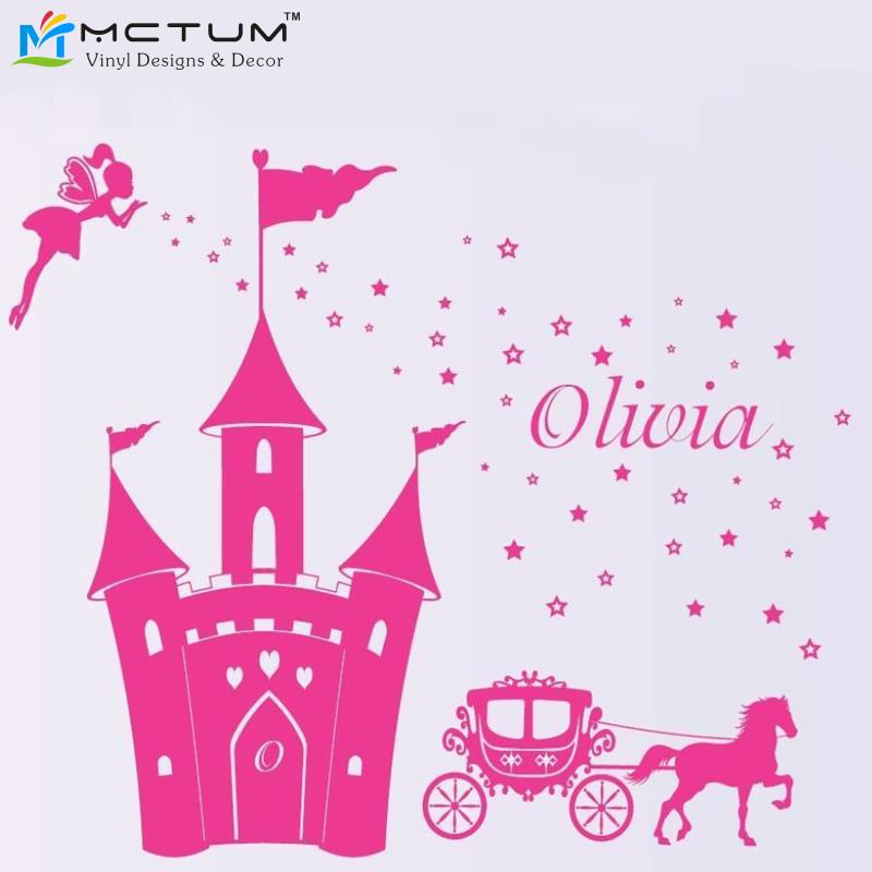 Girls Princess Castle Theme Custom Name Wall Sticker Horse