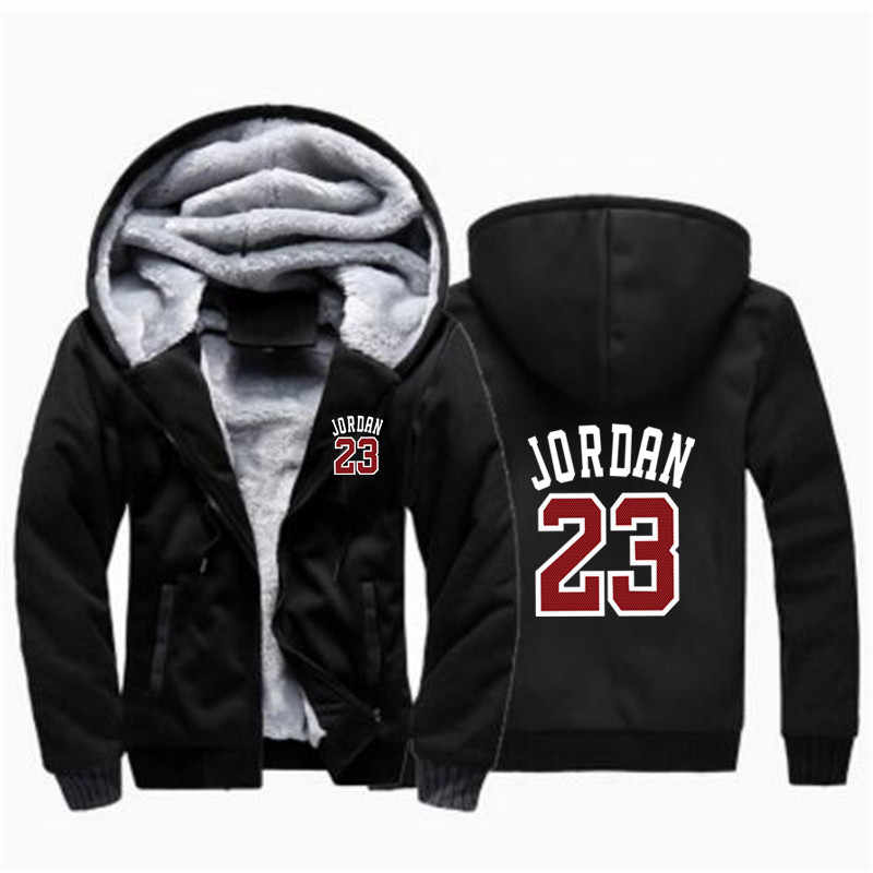 9faf757ae24ea7 Winter Warm Thick Plus Design Men 2018 Baseball Hoodies Stylish Jordan 23  Printed Novelty Slim Jacket