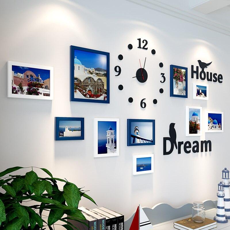 10 pcs Picture Frame For Living Room Frame For Baby Photos Clock Wall Decor Mediterranean Photo Frame Moldura Bilderrahmen Set-in Frame from Home & Garden    1