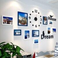 10 pcs Picture Frame For Living Room Frame For Baby Photos Clock Wall Decor Mediterranean Photo Frame Moldura Bilderrahmen Set