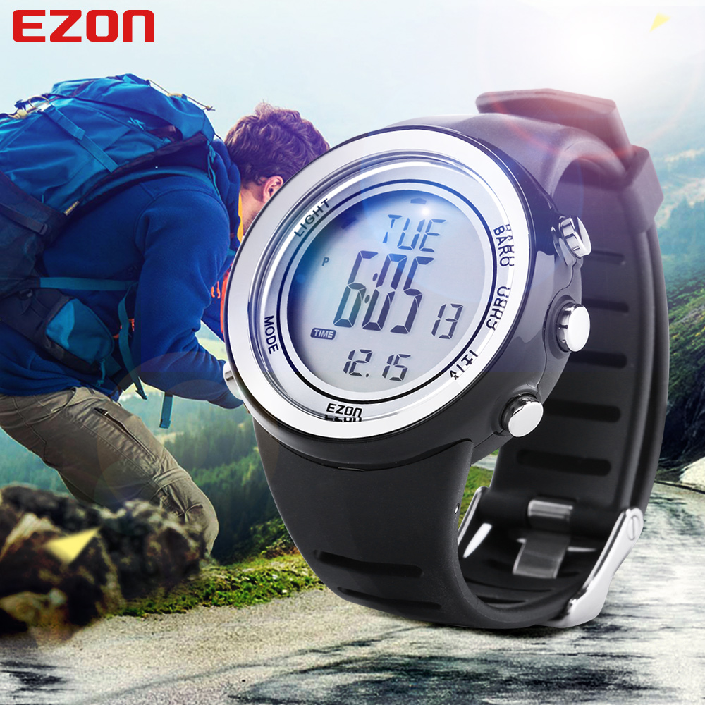 Saatler'ten Dijital Saatler'de Niohuru Çok Fonksiyonlu spor saat H009 5ATM Su Geçirmez Altimetre Kronometre Barometre Açık Tırmanma Erkekler Kadınlar için EZON title=