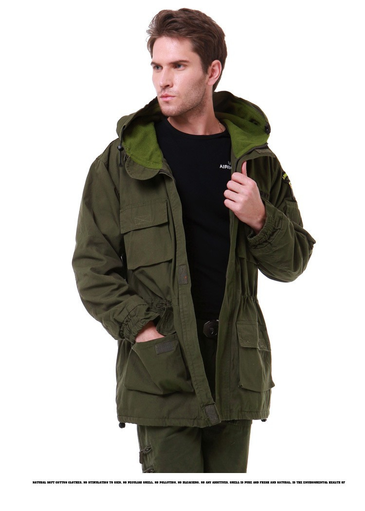 Outdoor men's Tactical Military M65 male coat US man windbreaker Camping Overcoat multi-pocket hooded pilot 101 air force Jacket open front side pocket hooded coat