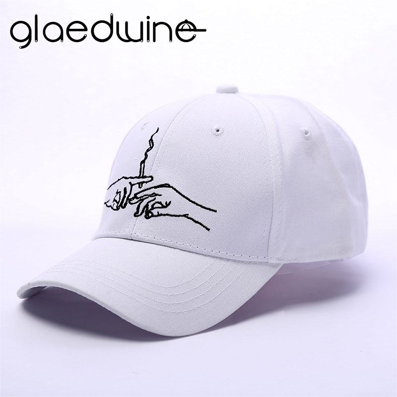 Glaedwine   Baseball     Cap   Brand Smoke Dad Hat For Men Women snapback Embroidery Hands Smoke Pattern Trucker   Cap   Weed Bone gorras