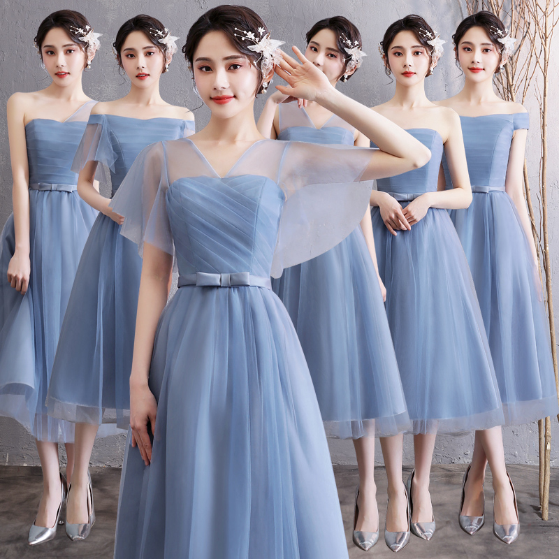 Blue Dress Bridesmaid Long Wedding Party Criss-Cross Floor-Length Prom Elegant Women Junior Female Guest New Years Eve Dress