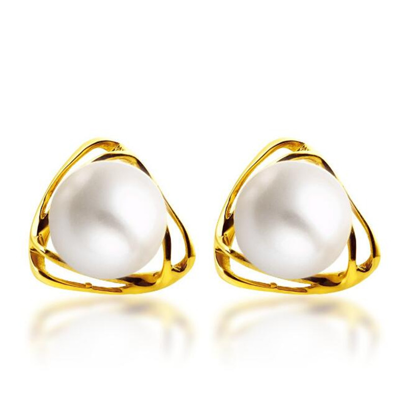 18K Gold 6.50mm Freshwater Pearl Stud Earrings For Women Charming Triangle Earring Pendientes Fashion Ear Jewelry Accessories pair of stylish rhinestone triangle stud earrings for women