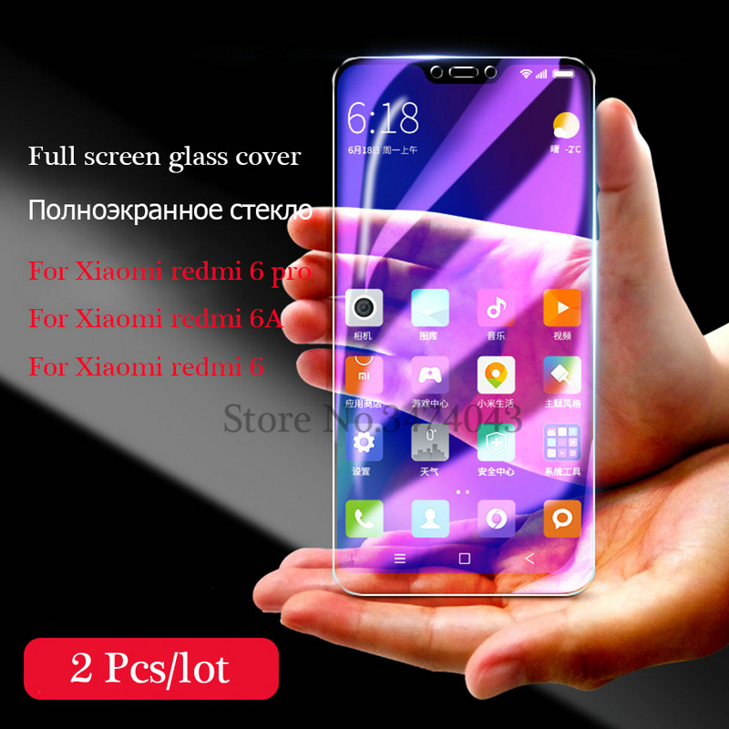 2Pcs/lot Tempered Glass For Xiaomi Redmi Note 6 Pro 6A Screen Protector For Xiaomi Redmi  6A 6 Pro Glass 9H Anti-Blu-ray
