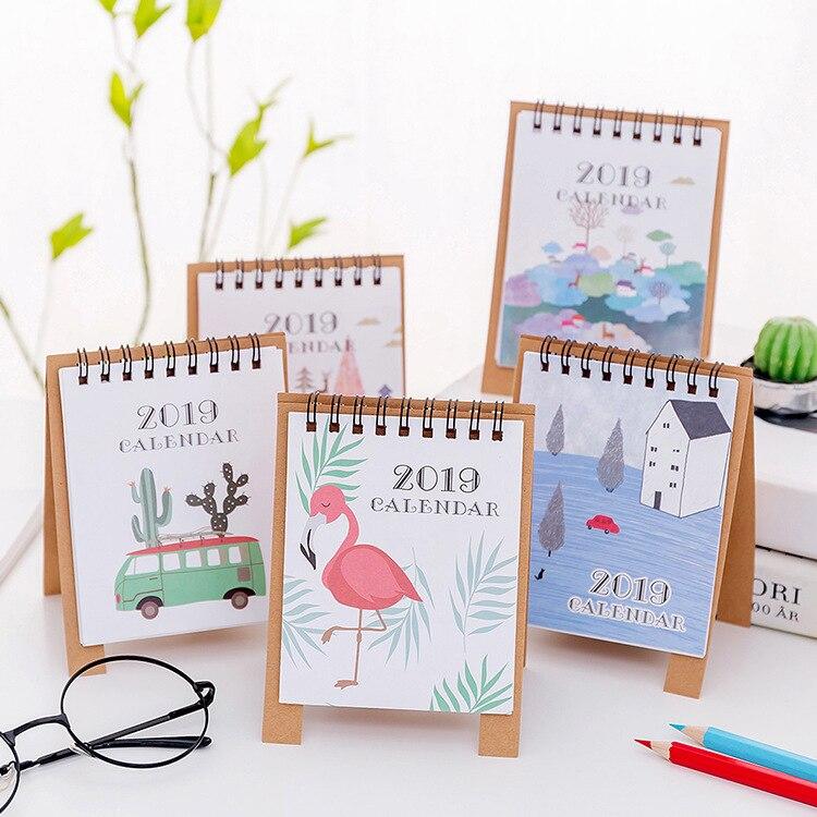 Calendar 2019 Cute Cartoon Cat Van Gogh Table Calendar Desk Planner Paper Stationery Office School Supplies 2018.08~2019.12