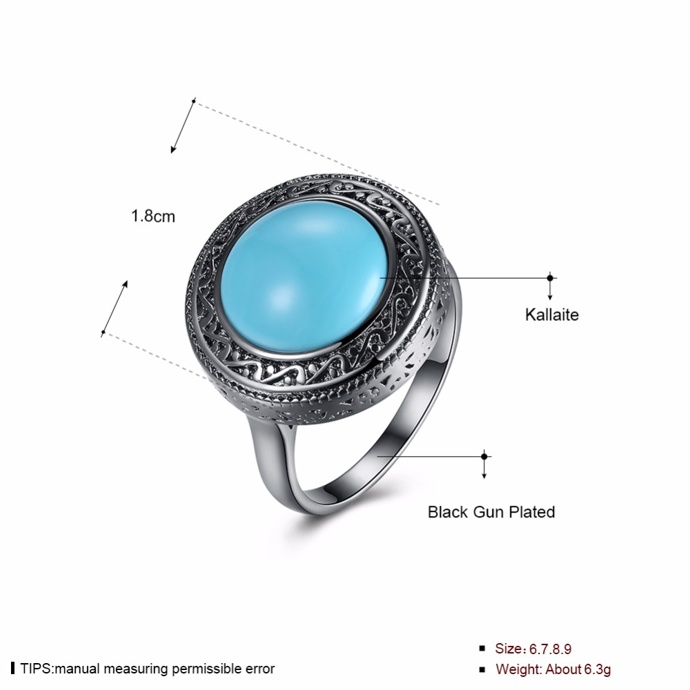 GNIMEGIL 2017 Europe Fasgion Big Round Green Kallaite Stone Ring Black Color Vintage Rings Jewelry for Woman Mama Gifts