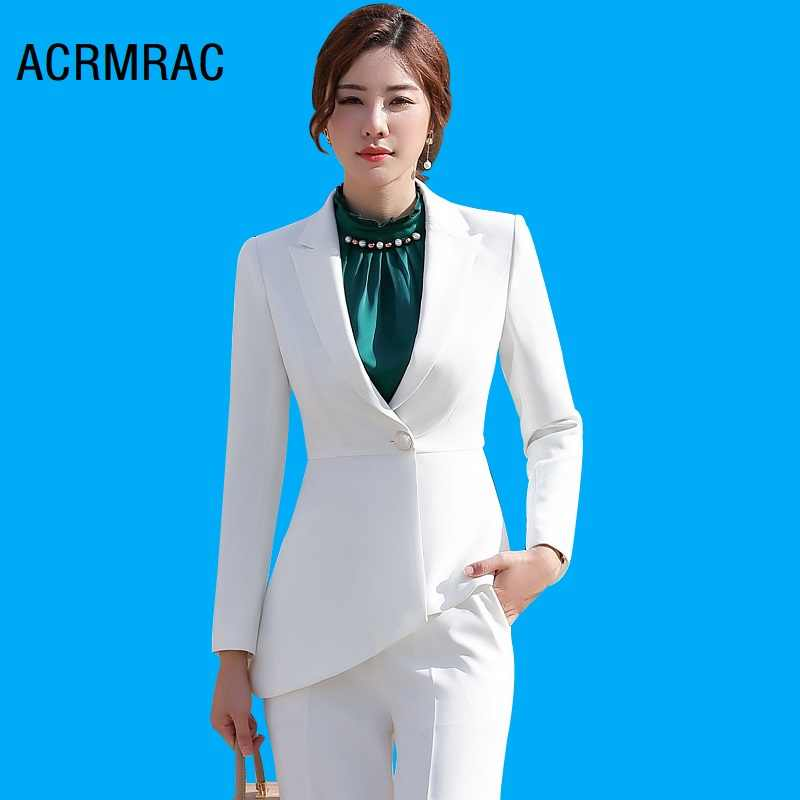 Women suits Slim Long sleeve irregular jacket Wide leg pants 2-piece set OL Formal Women pants suits Woman set suits 879