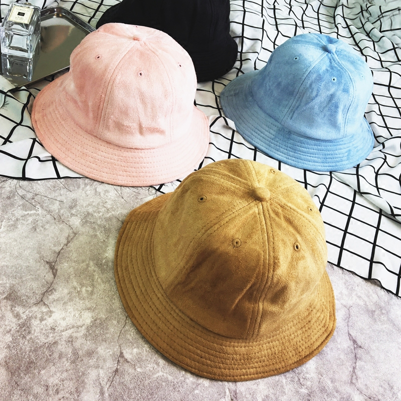 [La MaxPa] 9 Colors !! High-end Summer Solid Color Fisherman Suede Bucket Hats for Men Panama Women Hat